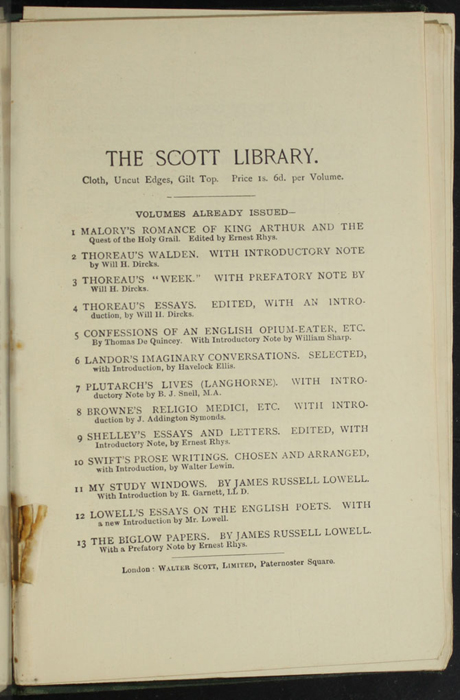 "First Page of Back Advertisements in the [1893] Walter Scott, Ltd. ""Emerald Library"" Reprint"