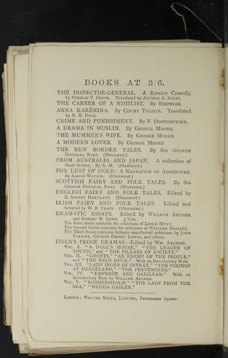 "Sixteenth Page of Back Advertisements in the [1893] Walter Scott, Ltd. ""Emerald Library"" Reprint"
