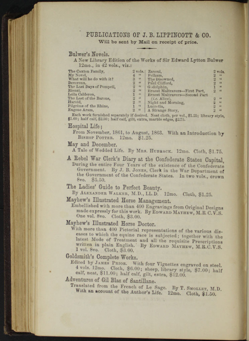 "Fourth Page of Back Advertisements in the 1869 J. B. Lippincott & Co. ""New Edition"" Reprint"