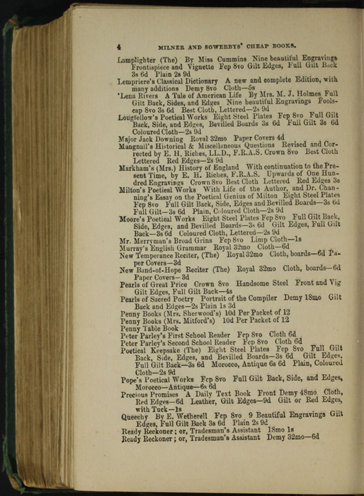 Fourth Page of Back Advertisements in the [1879] Milner & Sowerby Reprint