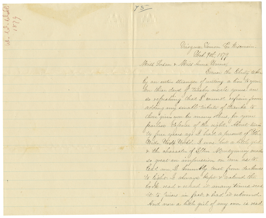 Blake, Ella K. to Miss Susan and Miss Anna Warner, Viroqua, Wisconsin, February 9, 1879
