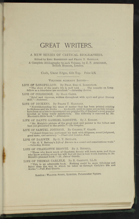 """Seventh Page of Back Advertisements in the [1893] Walter Scott, Ltd. """"Emerald Library"""" Reprint"""
