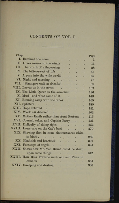 First Page of the Table of Contents for Volume 1 of the 1852 Sampson Low Reprint<br /><br />