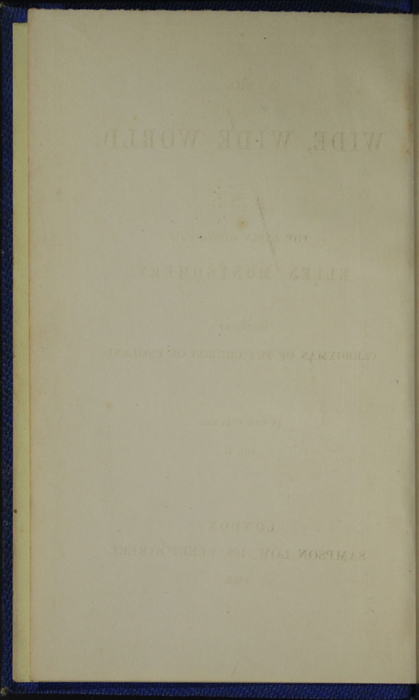 Verso of Front Flyleaf of Volume 1 of the 1852 Sampson Low Reprint<br /><br />