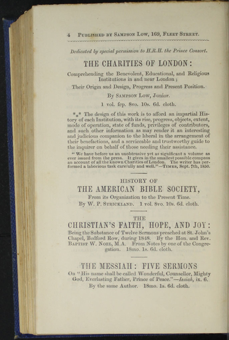 Fourth Page of Back Advertisements in Volume 2 of the 1852 Sampson Low Reprint