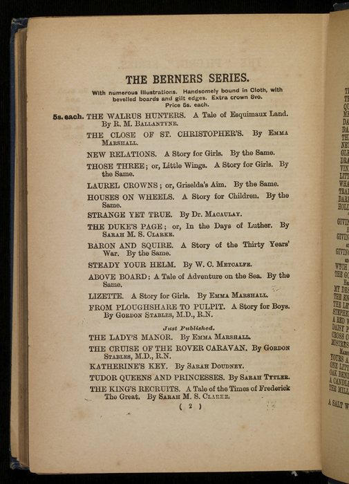 Second Page of Front Advertisements in [1896] James Nisbet & Co. Reprint