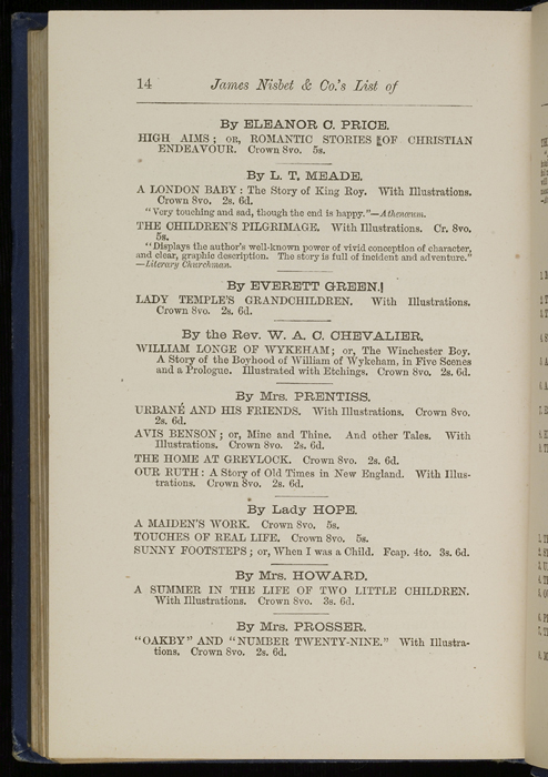 "Fourteenth Page of Back Advertisements in 1886 James Nisbet & Co. ""New ed. Golden Ladder Series"" Reprint"