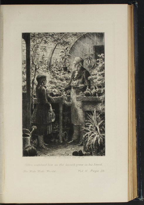 Illustration on Page 38a of Volume 2 of the 1888 J.B. Lippincott Co. Reprint,  Depicting Ellen and Mr. Hutchinson in the Greenhouse