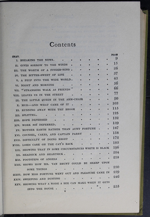 First Page of the Table of Contents for the [1907] Grosset & Dunlap Reprint, Version 4