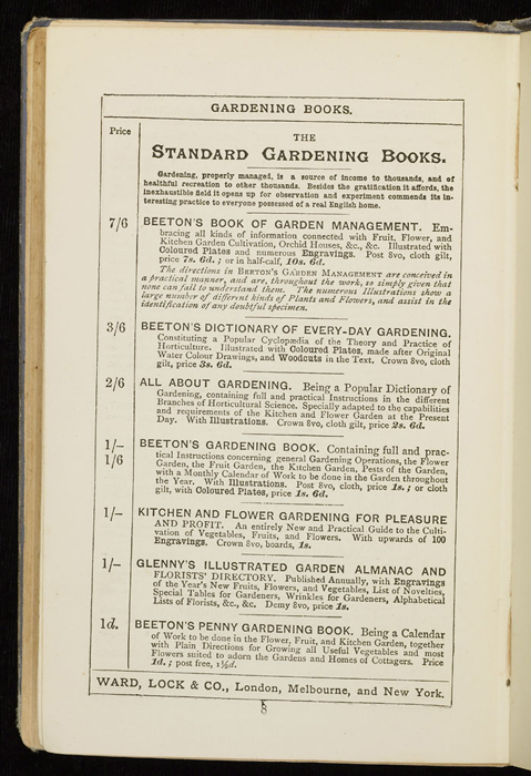 """Eleventh Page of Front Advertisements in the [1884] Ward, Lock & Co. """"Lily Series, Complete Edition"""" Reprint"""