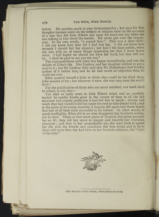 "Last Page of Text in the [1893] Walter Scott, Ltd. ""Emerald Library"" Reprint"