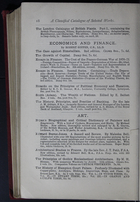 Eighteenth Page of Back Advertisements of the G. Bell 1889 Reprint