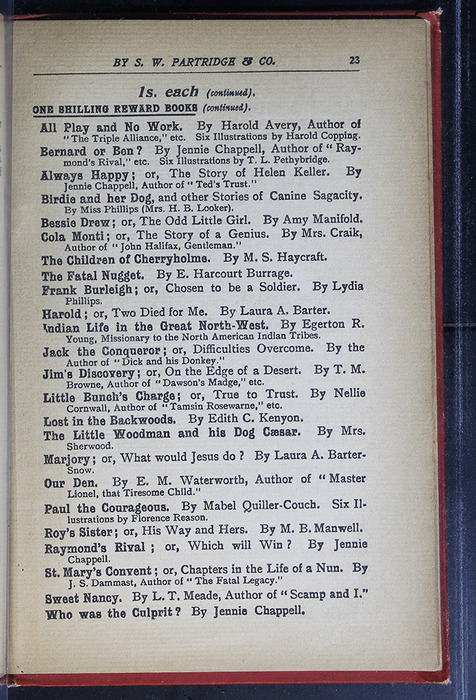 "Twenty-Third Page of Back Advertisements in the [1896] S. W. Partridge & Co. ""Marigold Series"" Reprint"