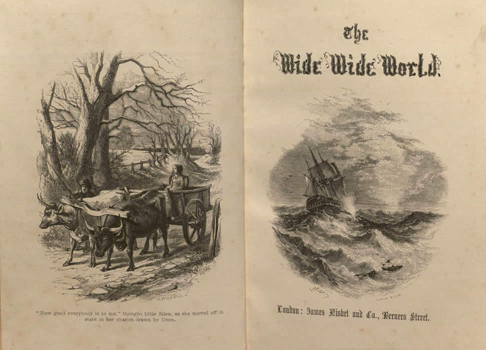 "Facing Frontispiece and Title Page Vignette of Volume 2 of the 1853 James Nisbet ""Author's Edition"" Reprint, Depicting the Ox Cart and the Ship"
