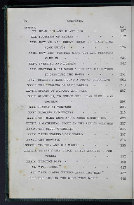 "Second Page of the Table of Contents to the [1884] Frederick Warne & Co. ""Star Series"" Reprint"