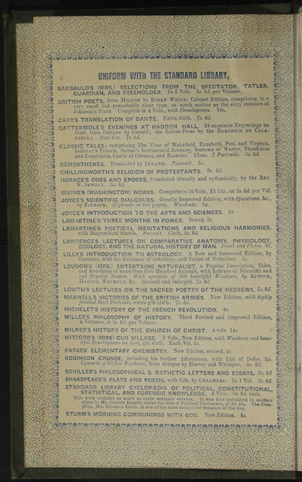 """Third Page of Front Advertisements in the 1853 H. G. Bohn """"Standard Library"""" Reprint"""