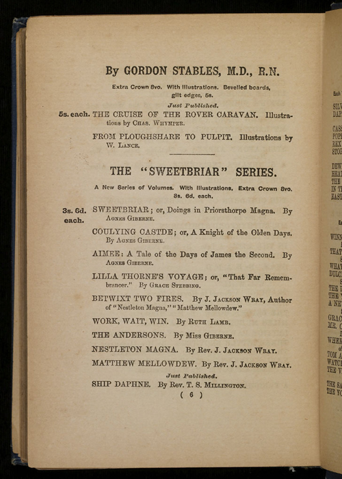 Sixth Page of Front Advertisements in [1896] James Nisbet & Co. Reprint