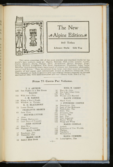 """First Page of Back Advertisements in the [1902] M. A. Donohue & Co. """"Snug Corner Series"""" Reprint"""