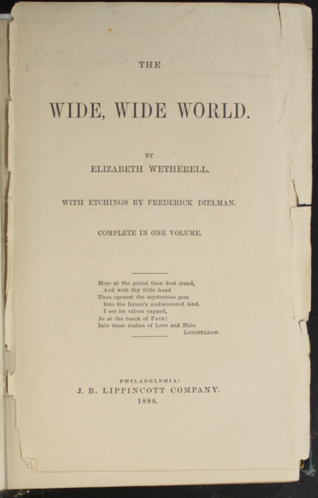 Title Page to the 1888 J.B. Lippincott Co. Reprint
