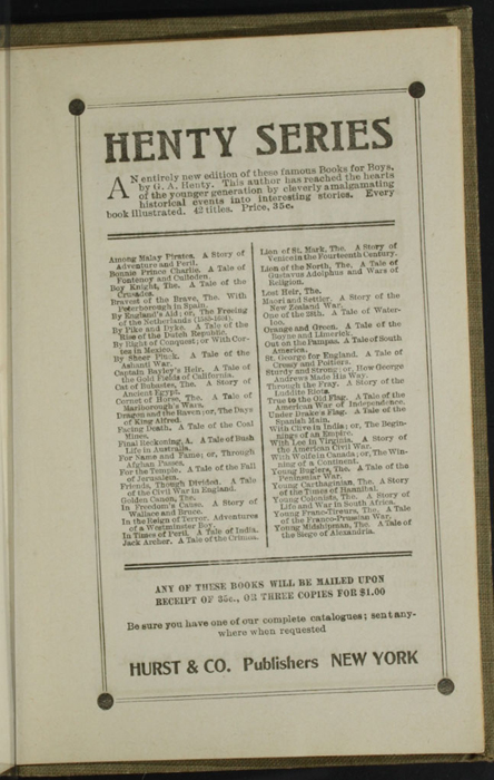Third Page of Back Advertisements in the [1900] Hurst & Co. Reprint, Version 1