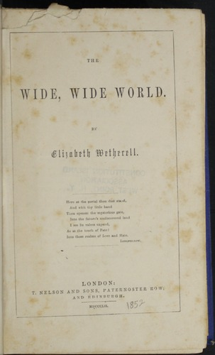 Title Page to the 1852 T. Nelson & Sons Reprint, Version 2