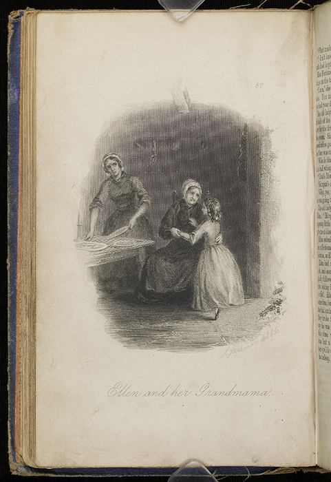 Illustration on Page 086b of the 1853 H.G. Bohn Reprint, Version 2 Depicting Ellen in the Kitchen with Aunt Fortune and Grandma