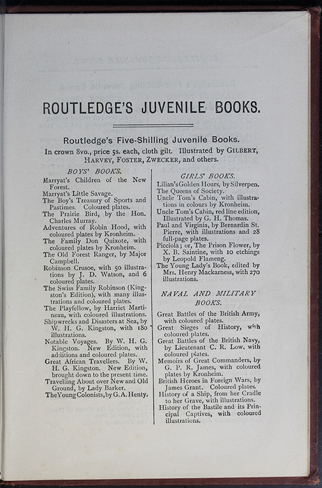 "First Page of Back Advertisements in the [1885] George Routledge & Co. ""Ruby Series"" Reprint"