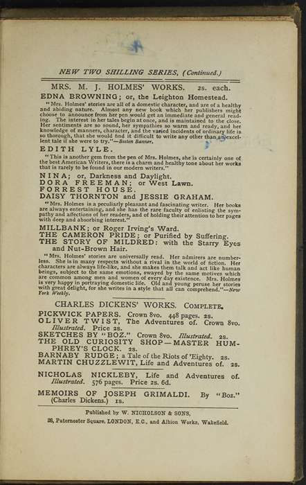 Third Page of Back Advertisements in the [1887] W. Nicholson & Sons Reprint, Version 1