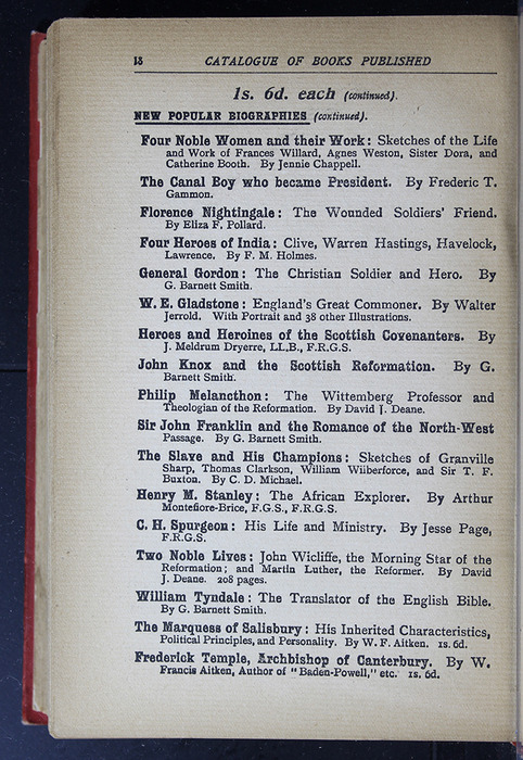"Eighteenth Page of Back Advertisements in the [1896] S. W. Partridge & Co. ""Marigold Series"" Reprint"