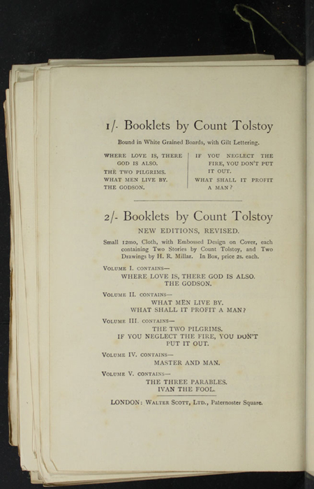 "Eighteenth Page of Back Advertisements in the [1893] Walter Scott, Ltd. ""Emerald Library"" Reprint"
