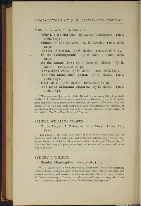 "Second Page of Back Advertisements in the 1891 J. B. Lippincott Co. ""New Edition"" Reprint"