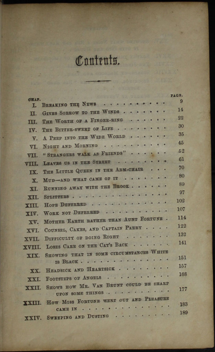 First Page of the Table of Contents for the [1853] Clarke, Beeton, & Co. Reprint, Version 1