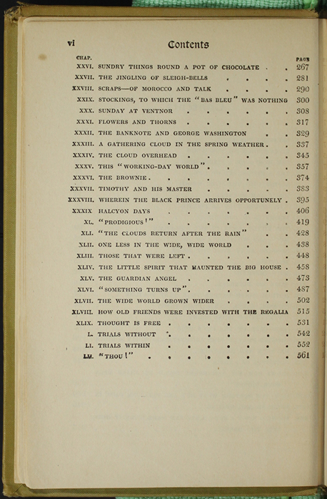 Second Page of the Table of Contents for the [1907] Grosset & Dunlap Reprint, Version 3