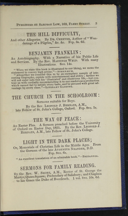 Third Page of Back Advertisements in Volume 2 of the 1852 Sampson Low Reprint