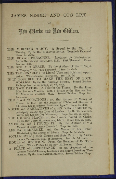 """First Page of Back Advertisements in Volume 2 of the 1853 James Nisbet, Hamilton, Adams & Co. """"New Edition"""" Reprint"""