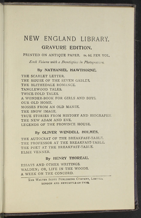 "Eleventh Page of Back Advertisements in the [1904] The Walter Scott Publishing Co. Ltd. ""Complete ed."" Reprint"