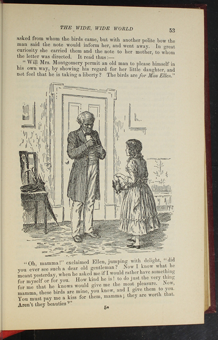 """Illustration on Page 53 of the 1903 J.B. Lippincott Co. """"New Edition"""" Reprint Depicting Ellen Receiving the Birds from the Old Gentleman's Servant"""