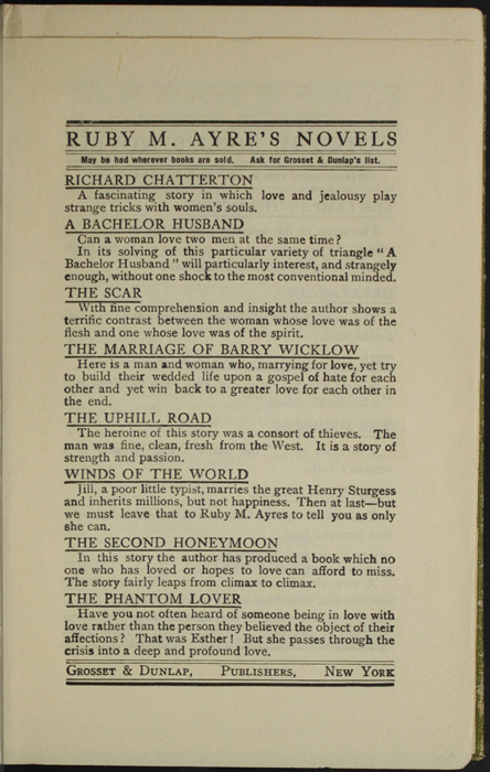 First Page of Back Advertisements in the [1907] Grosset & Dunlap Reprint, Version 2