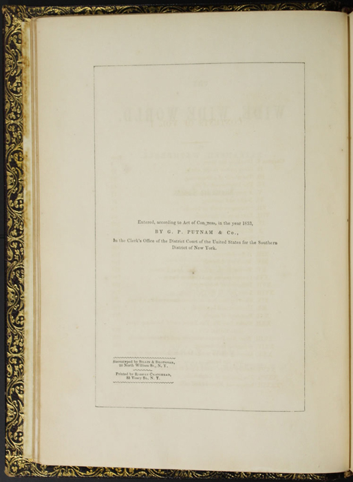 Copyright Page of the 1853 G. P. Putnam, Vol. 1, Issue 2