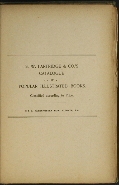First Page of Back Advertisements in the [1904] S. W. Partridge & Co. Reprint