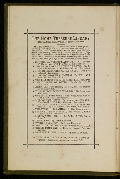 """First Page of Advertisements of the [1885] Ward, Lock & Co. """"Home Treasure Library Complete ed."""" Reprint, Version 1"""