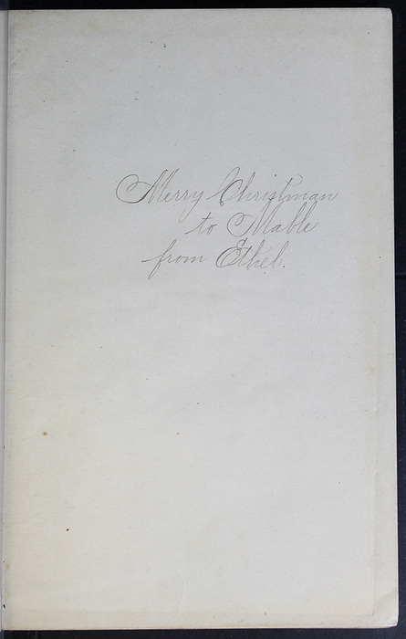 Recto of Front Flyleaf with Inscription of the [1899] Geo. M. Hill Co. Reprint