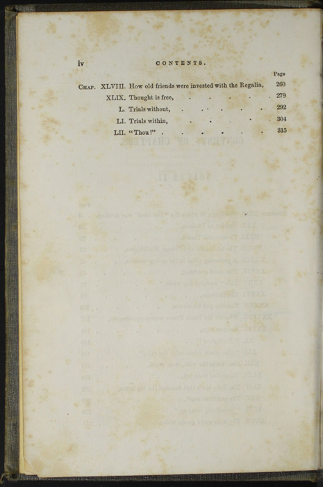 Second Page of the Table of Contents for Volume 2 of the 1851 George P. Putnam First Edition, Version 3