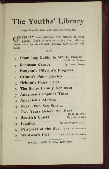 """Seventh Page of Back Advertisements in the [1902] Ward, Lock, & Co., Ltd. """"Complete Edition"""" Reprint"""