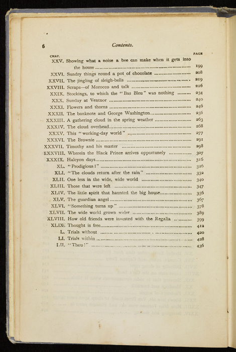 "Second Page of the Table of Contents for the [1884] Ward, Lock & Co. ""Lily Series, Complete Edition"" Reprint"