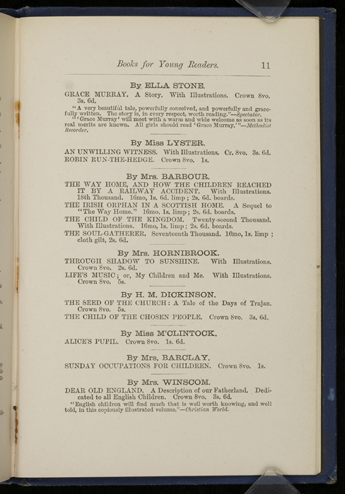 "Eleventh Page of Back Advertisements in 1886 James Nisbet & Co. ""New ed. Golden Ladder Series"" Reprint"