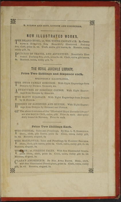 """Second Page of Back Advertisements in the 1853 T. Nelson & Sons """"Nelson's Library for Travellers and the Fireside"""" Reprint"""