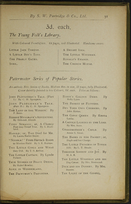 Thirty-First Page of Back Advertisements in the [1910] S. W. Partridge & Co., Ltd. Reprint