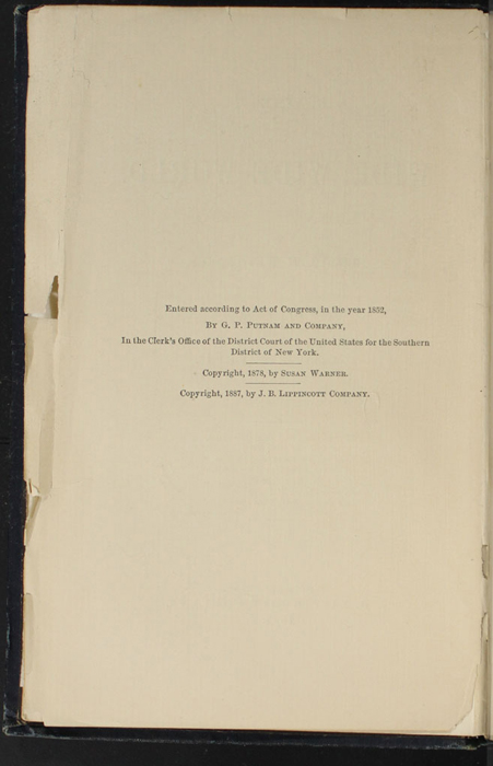 Copyright Page of the 1888 J.B. Lippincott & Co. Edition
