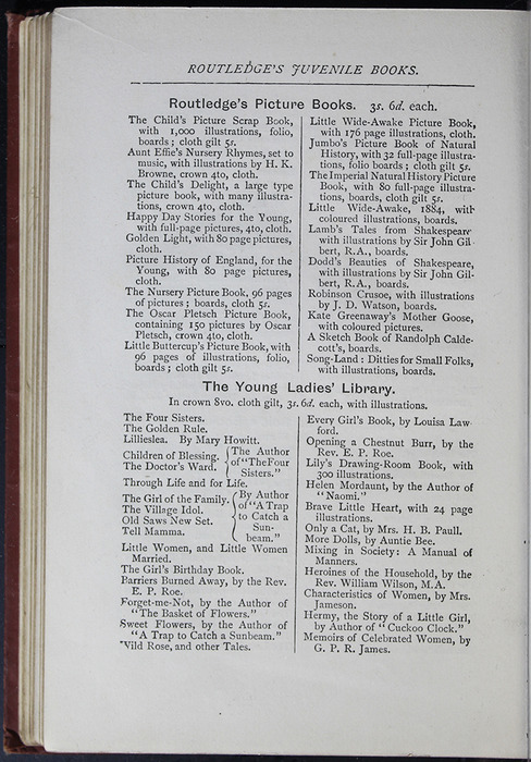 "Sixth Page of Back Advertisements in the [1885] George Routledge & Co. ""Ruby Series"" Reprint"